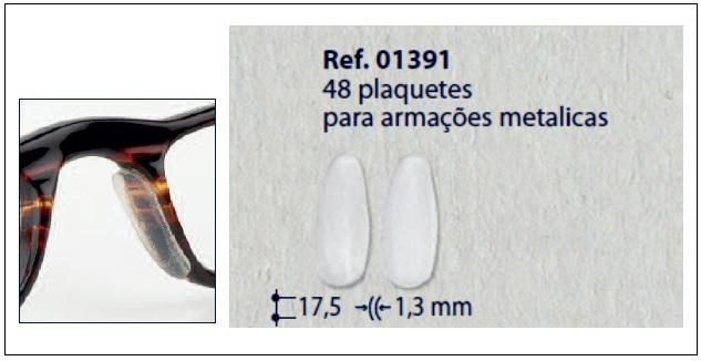 0201391 - Plaqueta Adesiva Silicone para Metal Mod 1391 - Contém 48 Peças