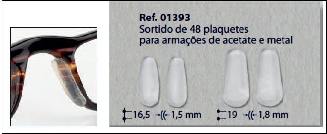 0201393 - Plaqueta Adesiva Silicone para Acetato Mod 1393 - Contém 48 Peças